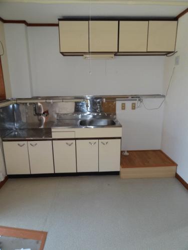 キッチンはこんな感じです。流し台の横には洗濯機置き場になります。