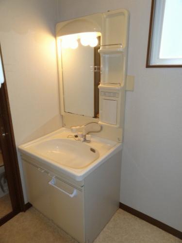 洗面所です。洗面台は女性には必須!洗面台横に洗濯機が置けます!