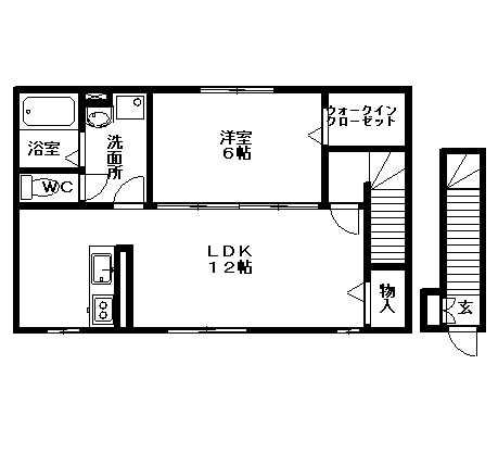 玄関は1階にあります。カウンターキッチンと大きなウォークインクローゼットがおすすめです♪