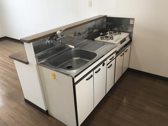 キッチンはこんな感じで、冷蔵庫なども置くスペースがあります。