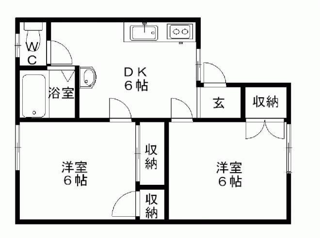 洋室6帖二部屋のお部屋ですよ♪寝室と居間とに分けて使っても♪